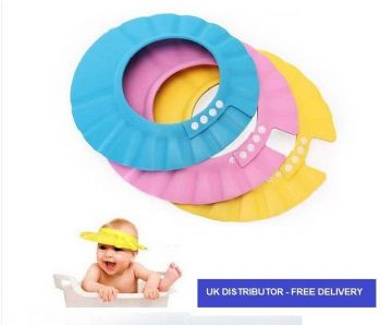 SHOWER CAP FOR BABY CHILD KIDS SHAMPOO BATH WASH HAIR SHIELD ADJUSTABLE YELLOW